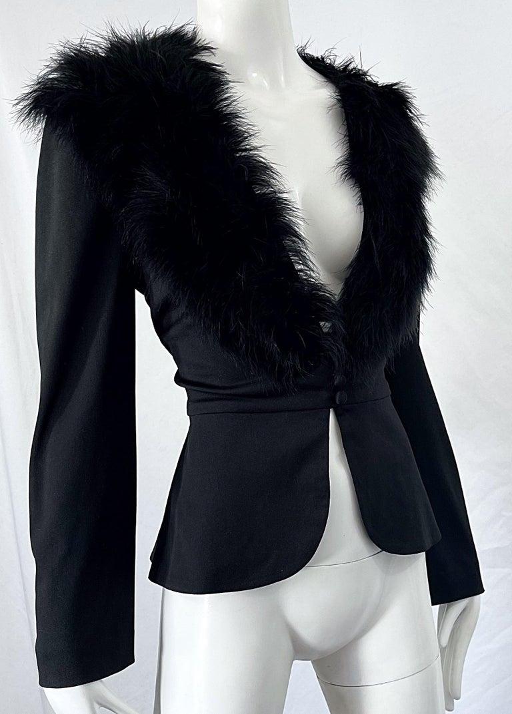 1970s Lilli Diamond Black Marabou Feathers Jersey Long Sleeve Vintage Cardigan  For Sale 3