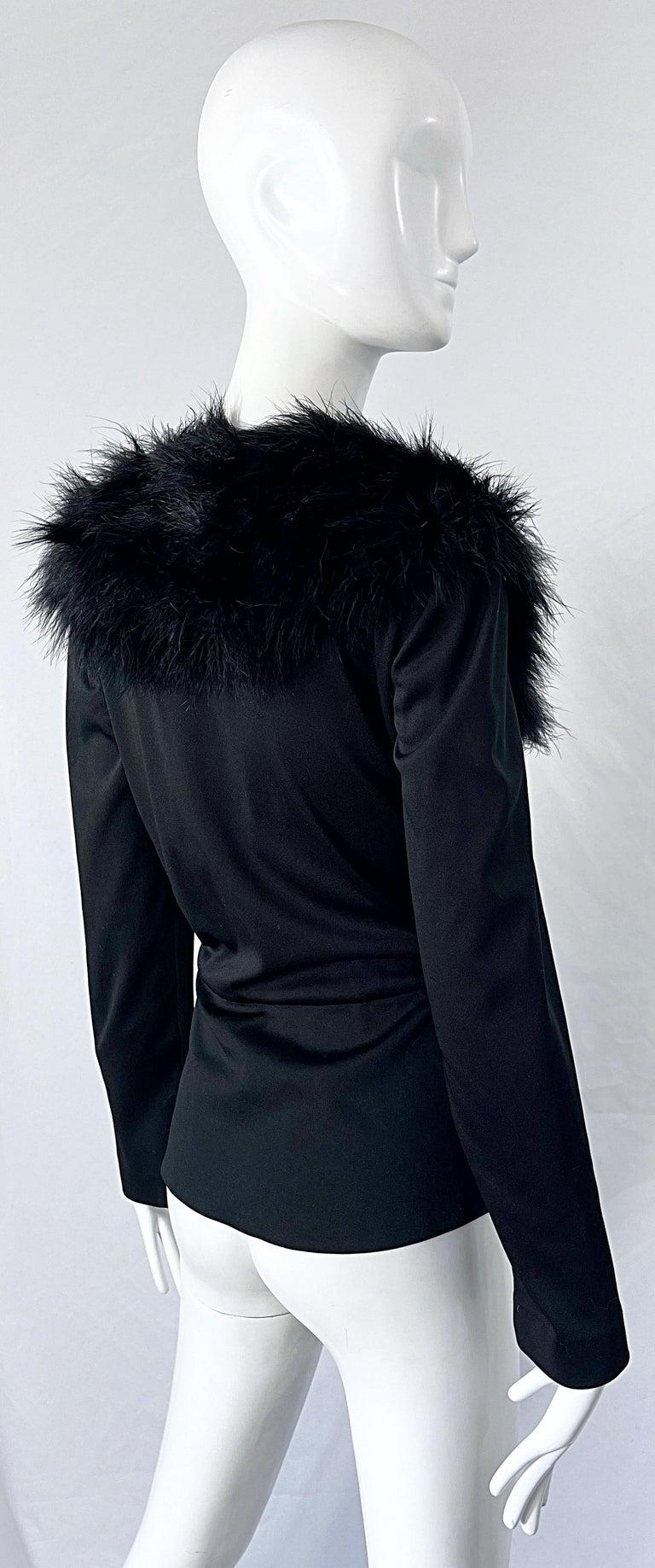 1970s Lilli Diamond Black Marabou Feathers Jersey Long Sleeve Vintage Cardigan  For Sale 4