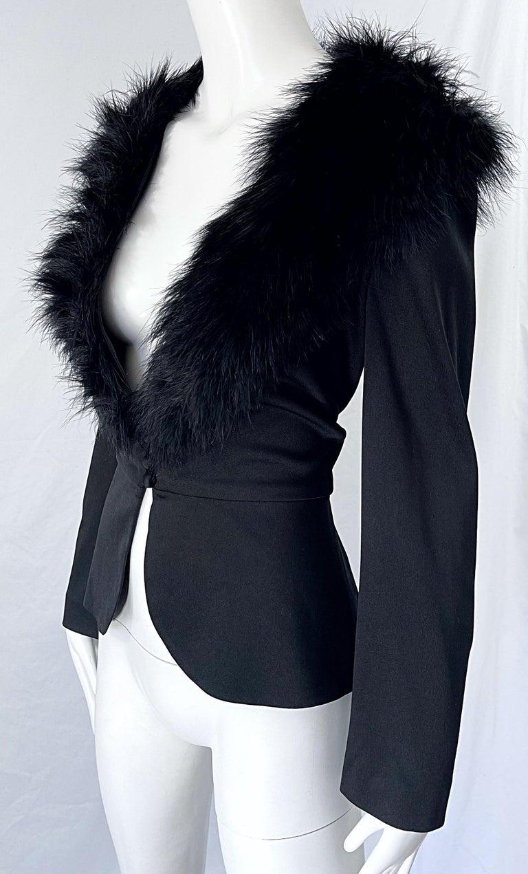 1970s Lilli Diamond Black Marabou Feathers Jersey Long Sleeve Vintage Cardigan  For Sale 5