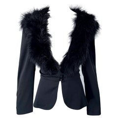 1970s Lilli Diamond Black Marabou Feathers Jersey Long Sleeve Vintage Cardigan