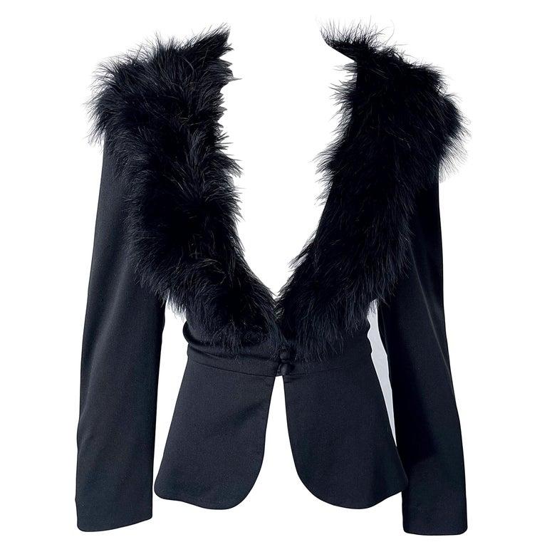 1970s Lilli Diamond Black Marabou Feathers Jersey Long Sleeve Vintage Cardigan  For Sale