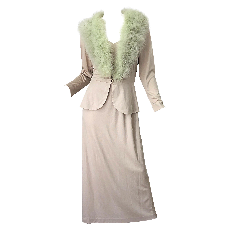 1970s Lilli Diamond Taupe + Mint Green Marabou Feather 70s Maxi Dress + Jacket