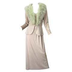 1970s Lilli Diamond Taupe + Mint Green Marabou Feather 70s Maxi Dress + Jacket