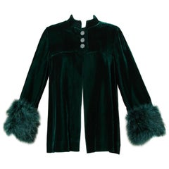 1970s Lilli Diamond Vintage Green Velvet Jacket with Feather Cuffs