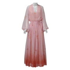 1970s Lillie Rubin Pink Sheer Dress