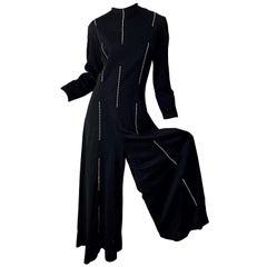 1970s Lillie Rubin Rhinestone Encrusted Black Knit Wide Palazzo Leg 70s Jumpsuit