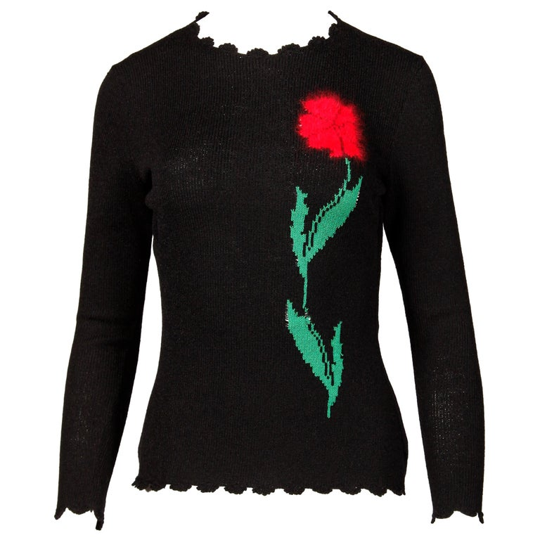 1970s Lillie Rubin Vintage Wool Knit Sweater Top with Flower For Sale