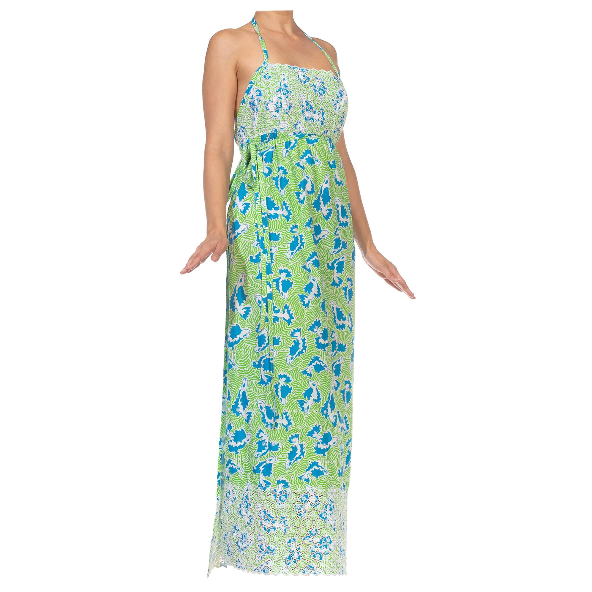 1970S LILLY PULITZER Green Blue Poly/Cotton Wrap Halter Back Dress