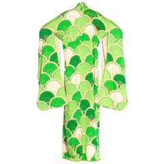 1970S Lime Green & Cream Silk Kimono With Gold Metallic Embroidery