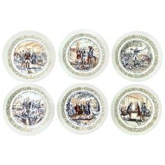 1970s Limoges France Set of 6 Bicentennial Limited Edition Salad/Dessert Plates