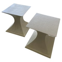 1970s Linen Wrapped Side Tables, a Pair