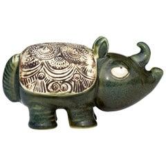 1970s Lisa Larson Gustavsberg Sweden Zoo Figure Rhino Scandinavian Pottery