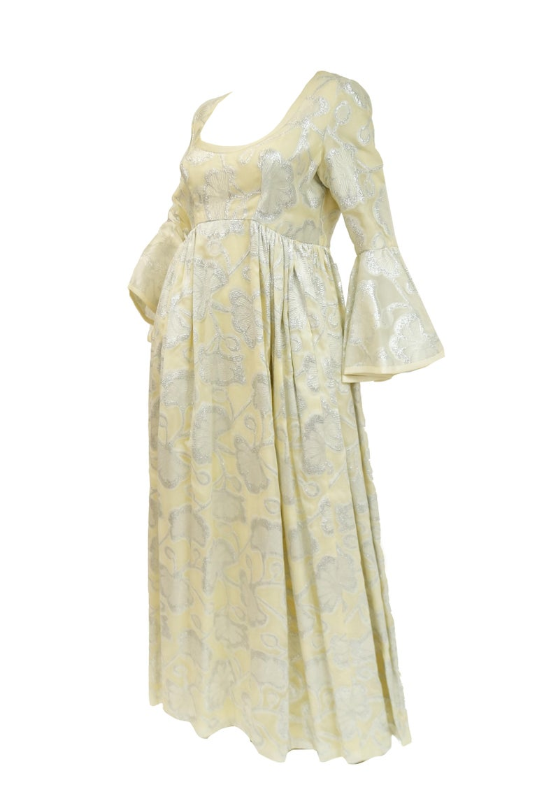Beige 1970s Lisa Meril Cream and Silver Floral Brocade Empire Waist Evening Dress For Sale