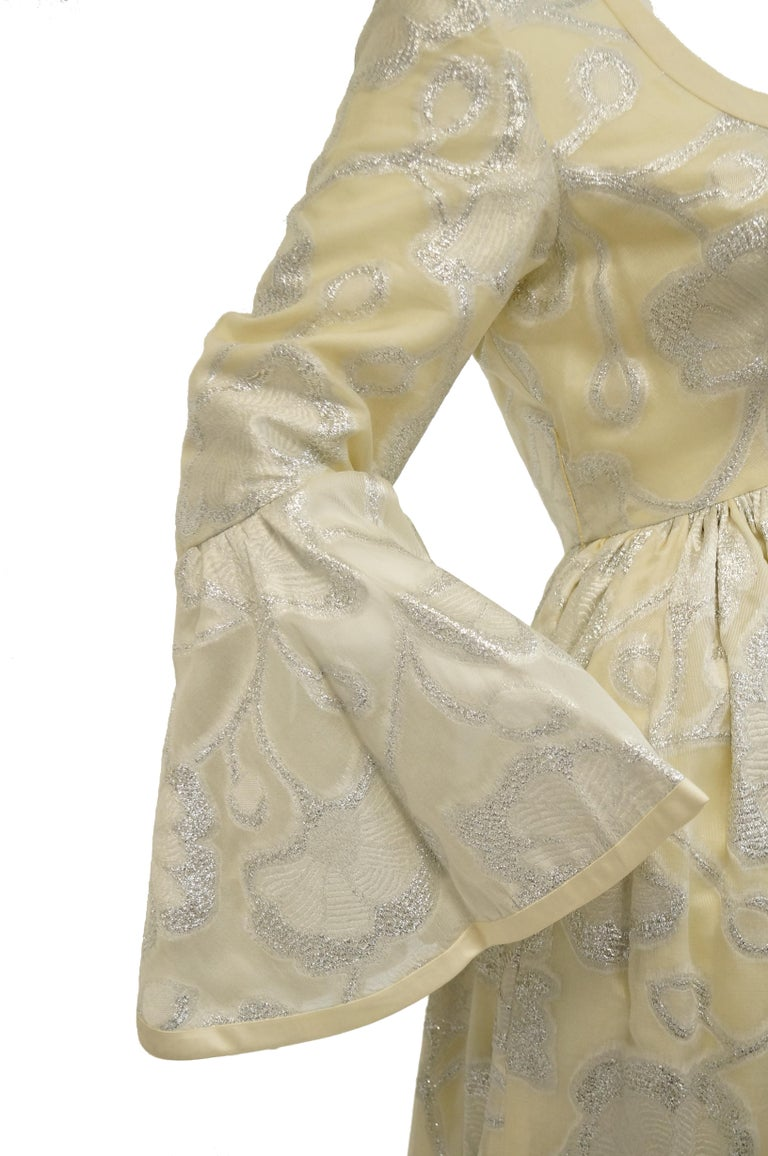 Women's 1970s Lisa Meril Cream and Silver Floral Brocade Empire Waist Evening Dress For Sale