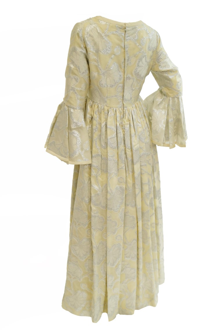 1970s Lisa Meril Cream and Silver Floral Brocade Empire Waist Evening Dress For Sale 3