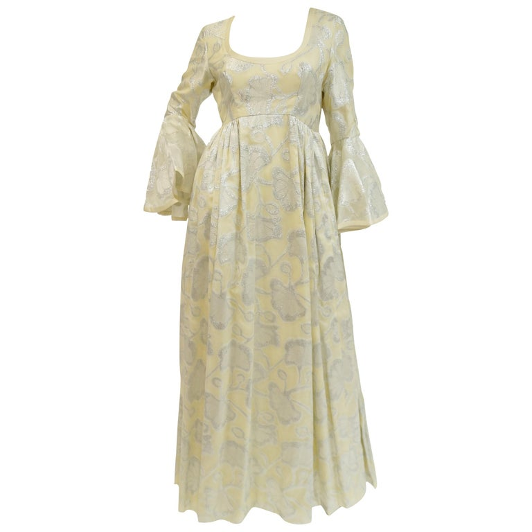 1970s Lisa Meril Cream and Silver Floral Brocade Empire Waist Evening Dress For Sale