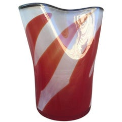 Red And White Mid-Century Modern 1970's Lollipop Murano Art Glass Vase