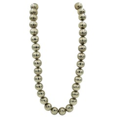 1970s Long Sterling Silver Ball Bead Necklace