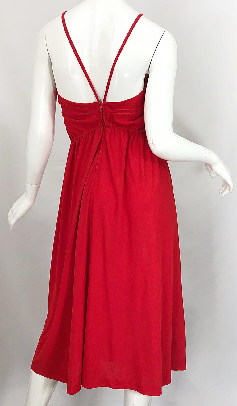 1970s Loris Azzaro Crimson Red Silk Jersey Grecian Inspired Vintage 70s Dress For Sale 7