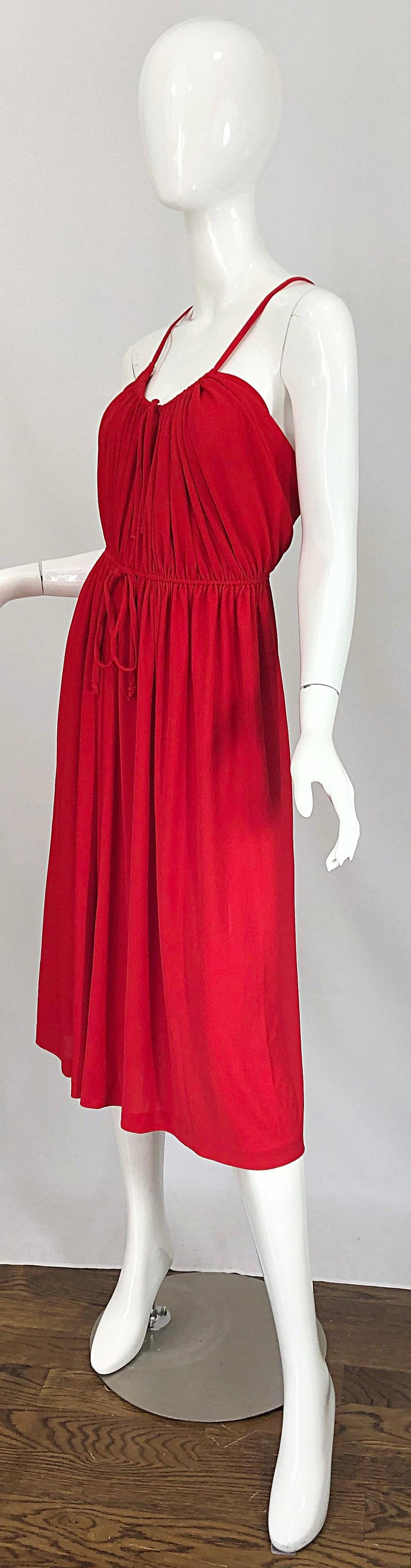 1970s Loris Azzaro Crimson Red Silk Jersey Grecian Inspired Vintage 70s Dress For Sale 8