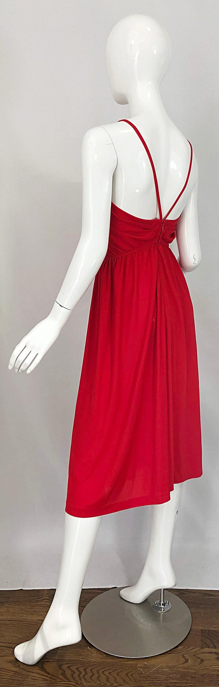 1970s Loris Azzaro Crimson Red Silk Jersey Grecian Inspired Vintage 70s Dress For Sale 9