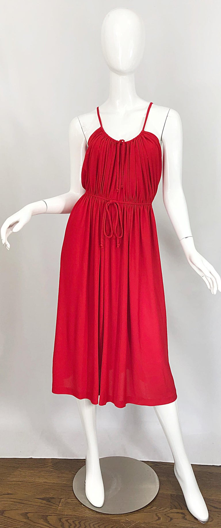 1970s Loris Azzaro Crimson Red Silk Jersey Grecian Inspired Vintage 70s Dress For Sale 10