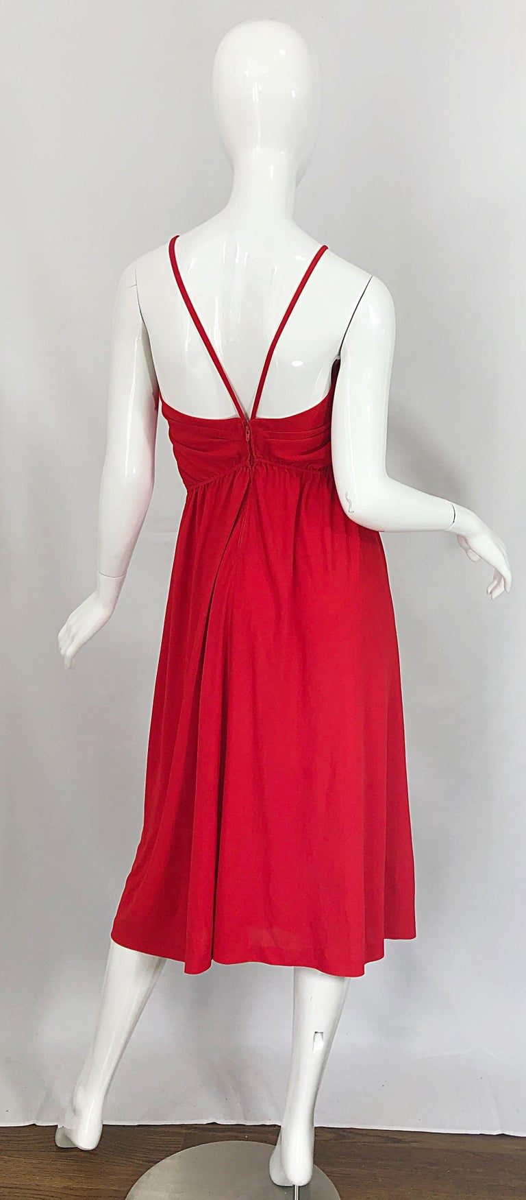 1970s Loris Azzaro Crimson Red Silk Jersey Grecian Inspired Vintage 70s Dress In Excellent Condition For Sale In Chicago, IL