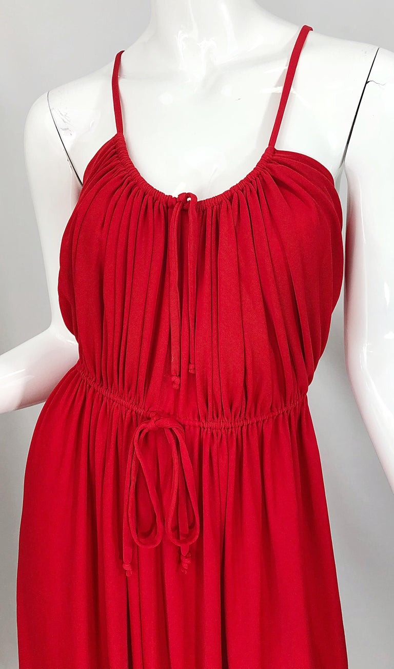 Women's 1970s Loris Azzaro Crimson Red Silk Jersey Grecian Inspired Vintage 70s Dress For Sale