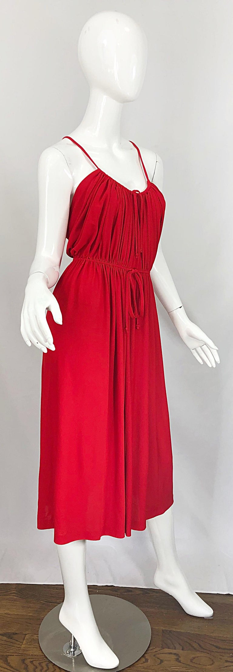 1970s Loris Azzaro Crimson Red Silk Jersey Grecian Inspired Vintage 70s Dress For Sale 1