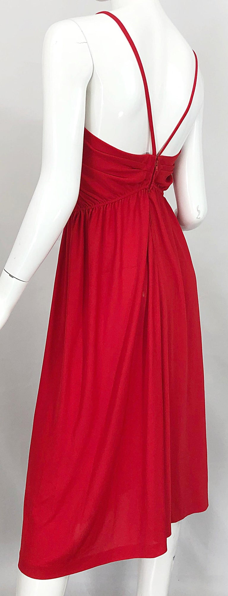 1970s Loris Azzaro Crimson Red Silk Jersey Grecian Inspired Vintage 70s Dress For Sale 2