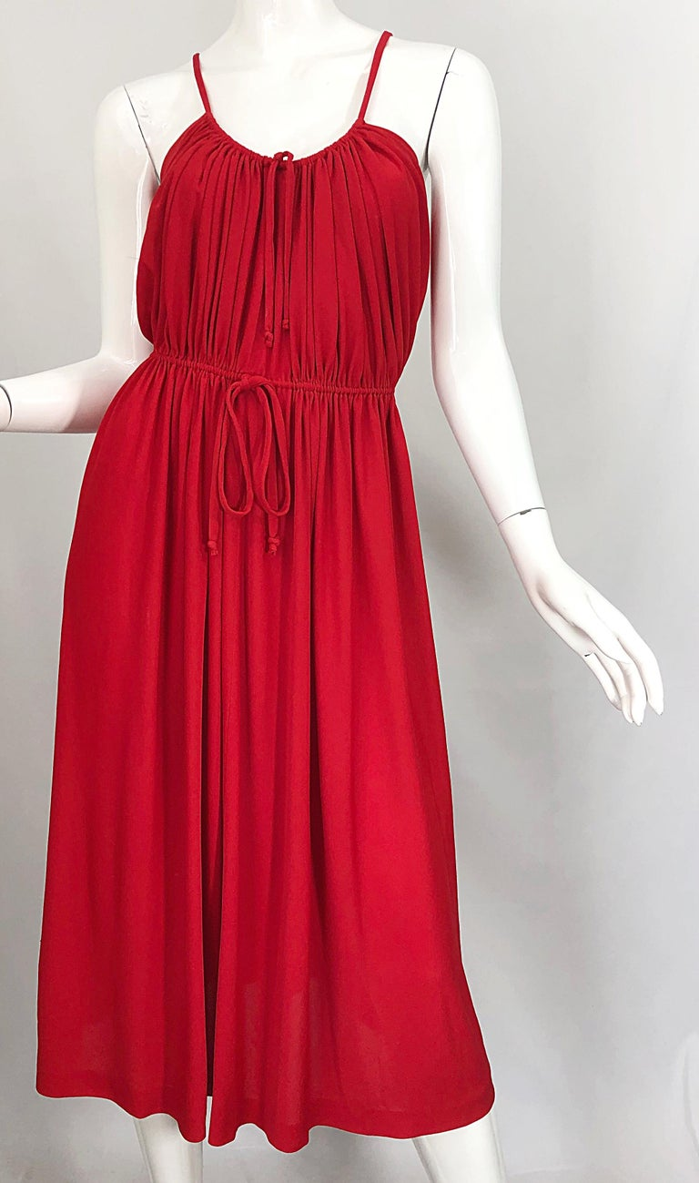 1970s Loris Azzaro Crimson Red Silk Jersey Grecian Inspired Vintage 70s Dress For Sale 3