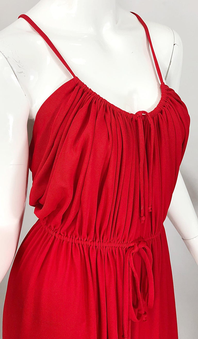 1970s Loris Azzaro Crimson Red Silk Jersey Grecian Inspired Vintage 70s Dress For Sale 4