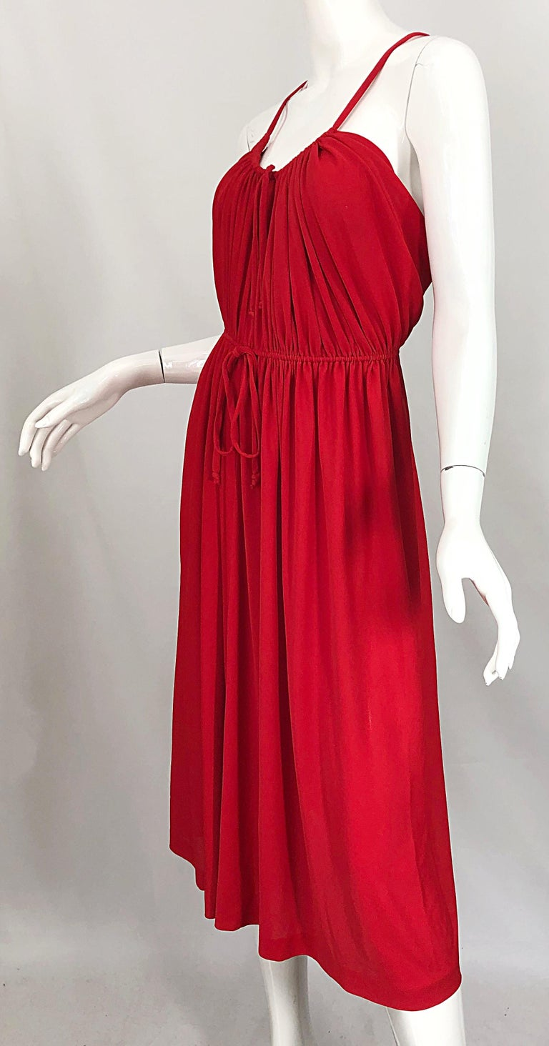1970s Loris Azzaro Crimson Red Silk Jersey Grecian Inspired Vintage 70s Dress For Sale 5