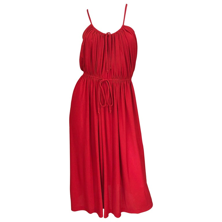 1970s Loris Azzaro Crimson Red Silk Jersey Grecian Inspired Vintage 70s Dress For Sale