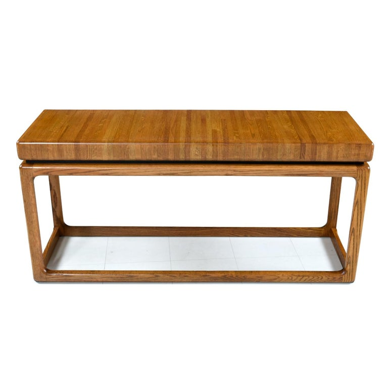 Mid-Century Modern 1970s Lou Hodges Style Solid Oak Postmodern Sofa Table Console For Sale