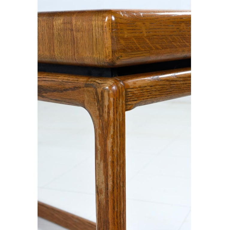 Late 20th Century 1970s Lou Hodges Style Solid Oak Postmodern Sofa Table Console For Sale