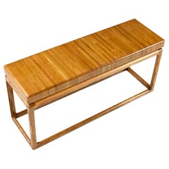 1970s Lou Hodges Style Solid Oak Postmodern Sofa Table Console