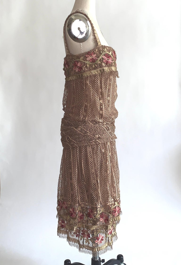 Brown 1970s Louis Feraud Couture Tan Lace Floral Embroidered Dress  For Sale