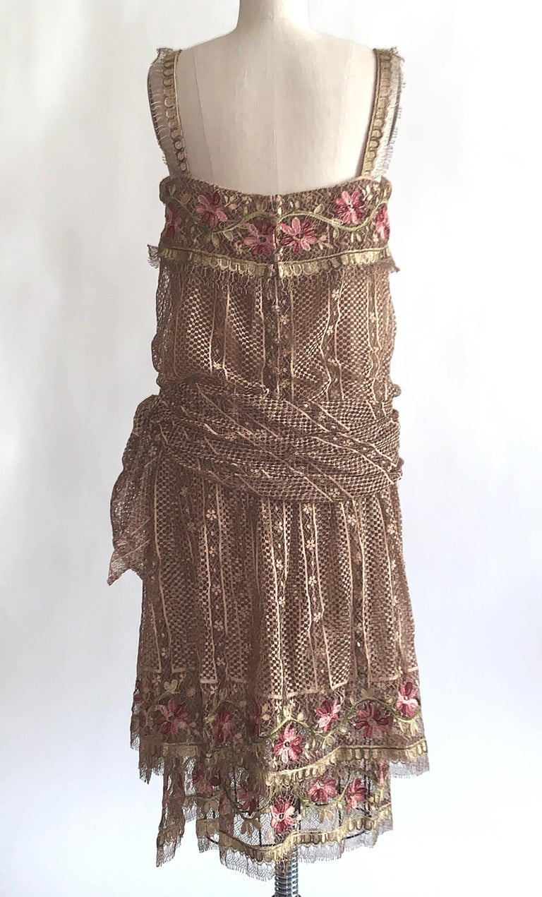 1970s Louis Feraud Couture Tan Lace Floral Embroidered Dress  In Excellent Condition For Sale In San Francisco, CA