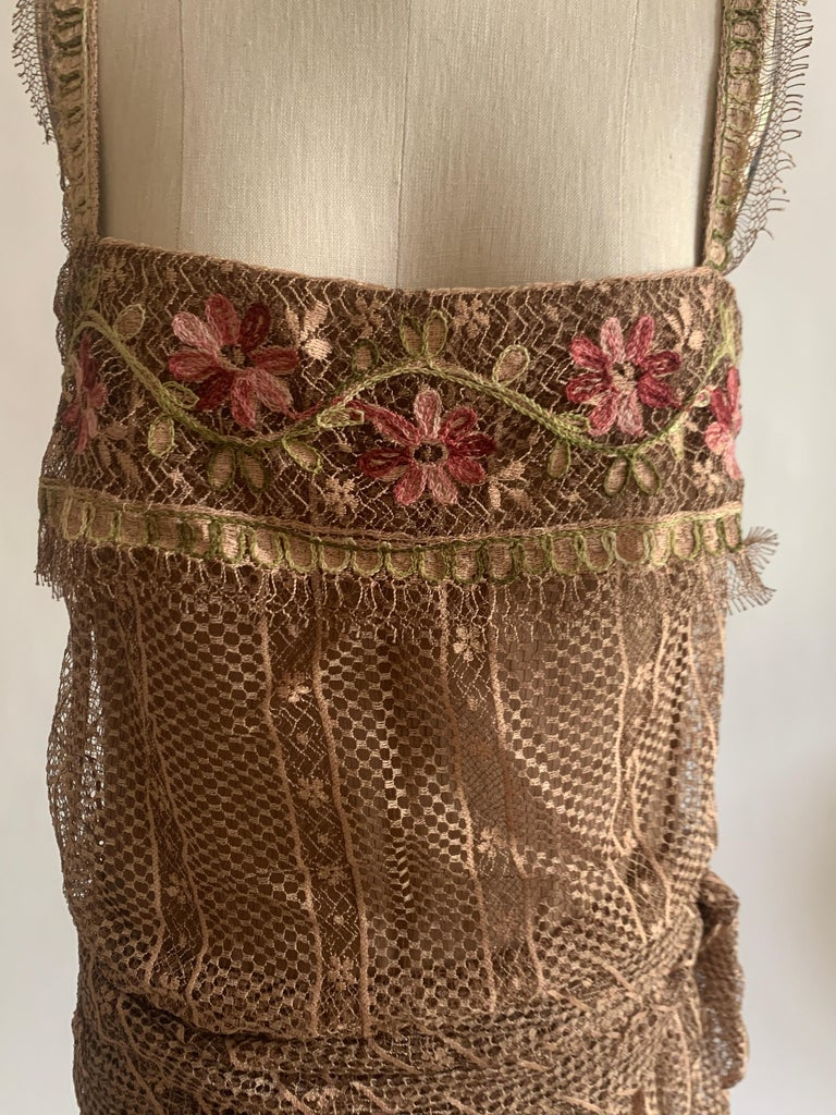 Women's 1970s Louis Feraud Couture Tan Lace Floral Embroidered Dress  For Sale