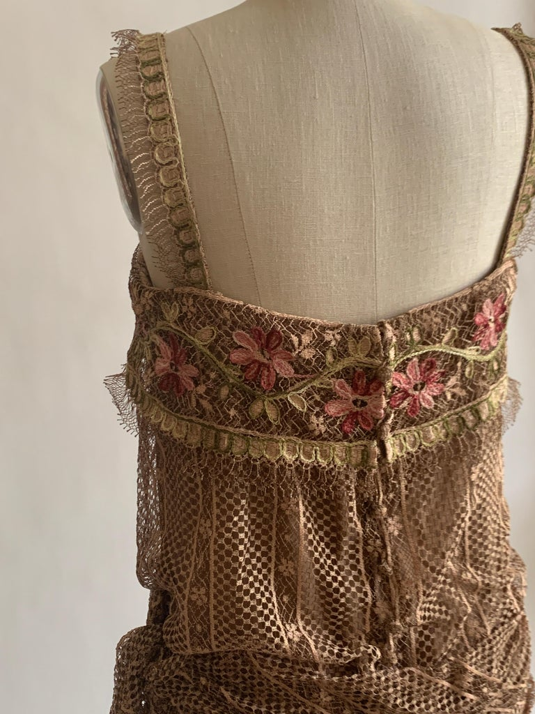 1970s Louis Feraud Couture Tan Lace Floral Embroidered Dress  For Sale 2