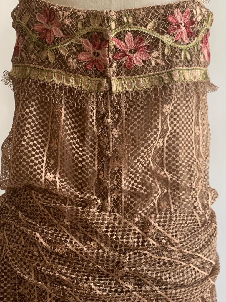 1970s Louis Feraud Couture Tan Lace Floral Embroidered Dress  For Sale 3
