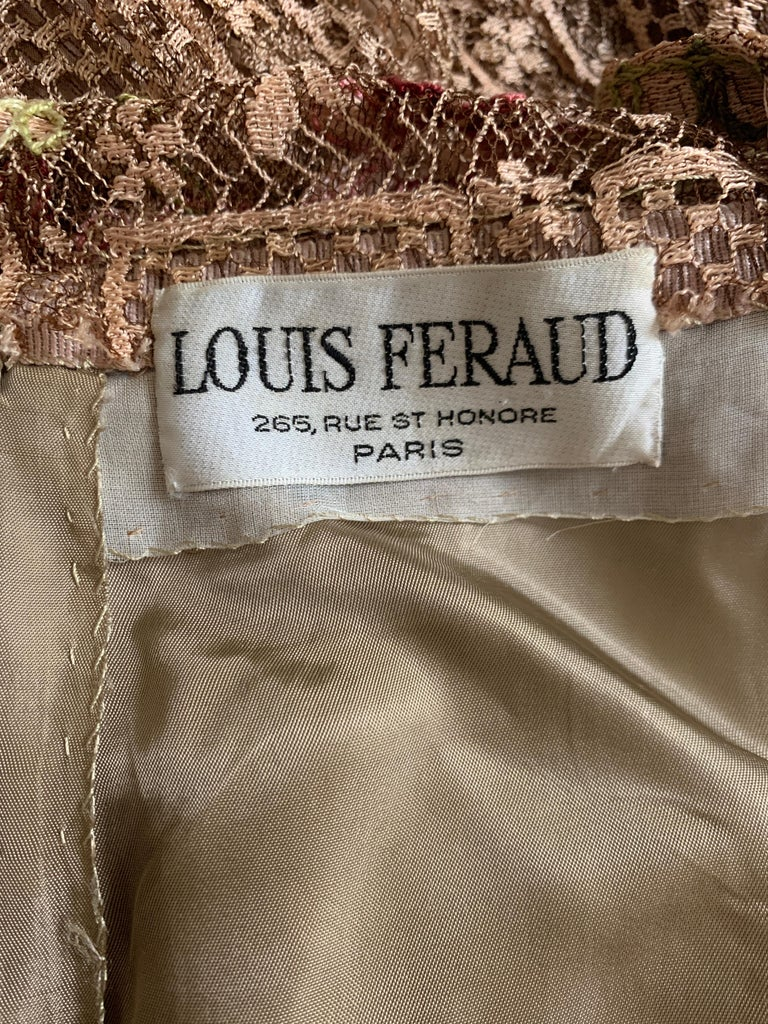 1970s Louis Feraud Couture Tan Lace Floral Embroidered Dress  For Sale 4