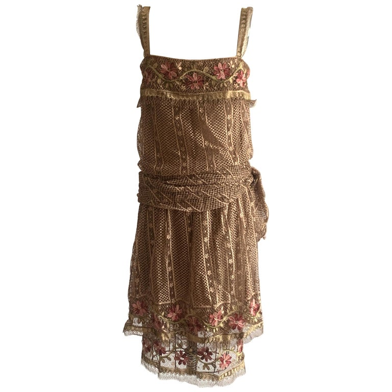 1970s Louis Feraud Couture Tan Lace Floral Embroidered Dress  For Sale