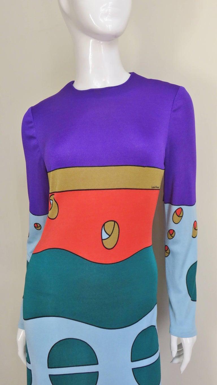 Purple 1970s Louis Feraud Mod Maxi Dress For Sale