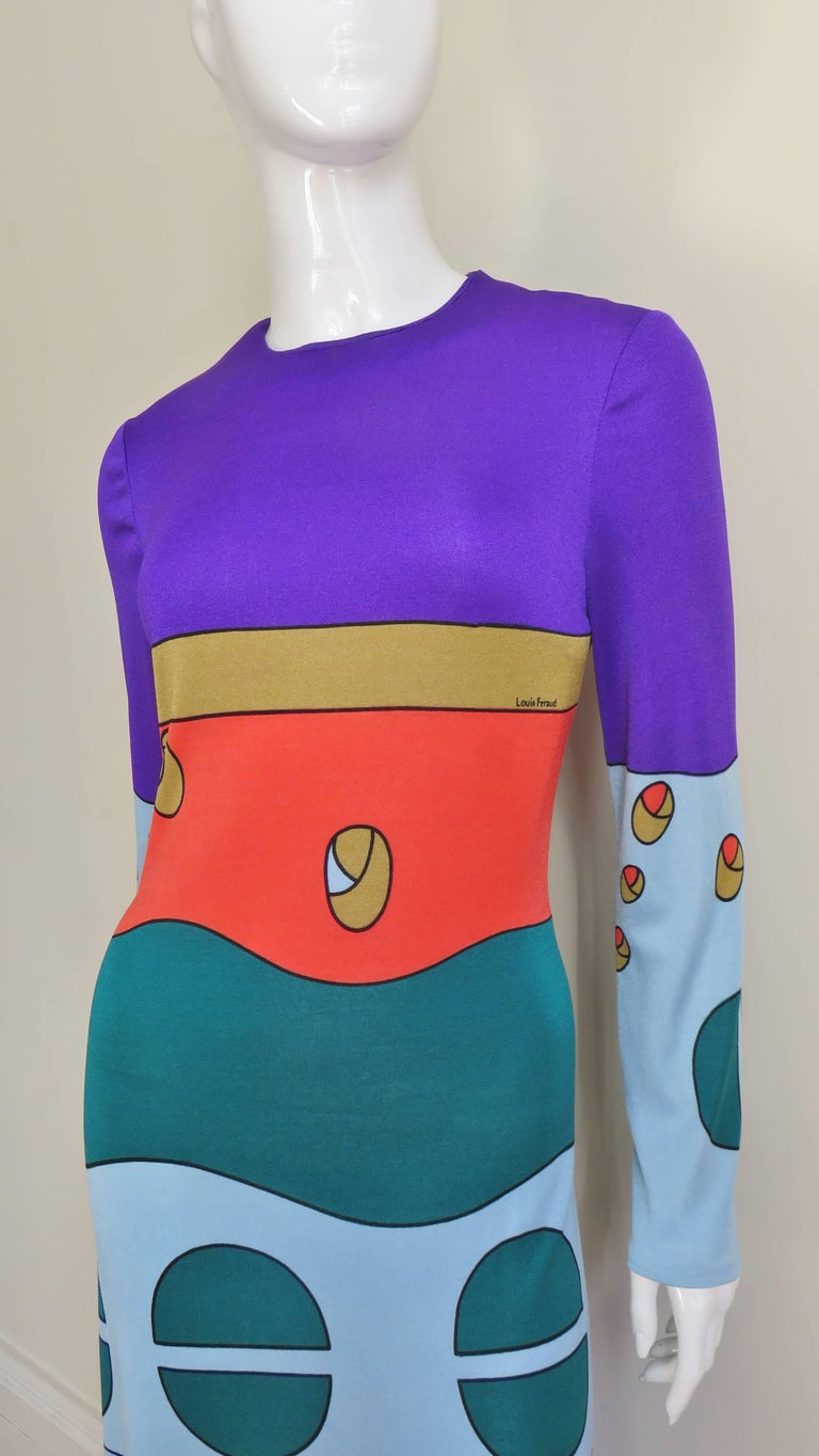 1970s Louis Feraud Mod Maxi Dress In Good Condition For Sale In New York, NY