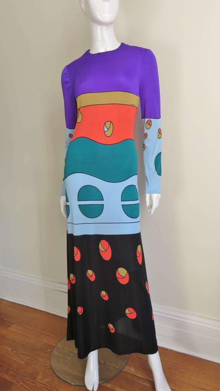 1970s Louis Feraud Mod Maxi Dress For Sale 1