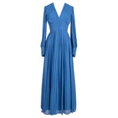 1970s LOUIS FERAUD Paris Cornflower Blue Pleated Chiffon Long Evening Dress