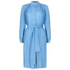 1970s Louis Feraud Sky Blue Silk Shirtwaister Dress