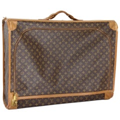1970s Louis Vuitton Brown Beige Canvas Leather Suitcase Luggage Pullman 75